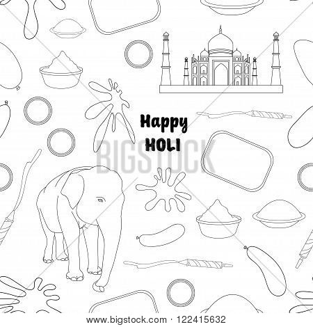 Pattern of Holi element with colors and message in Hindi Holi Hain meaning Its Holi
