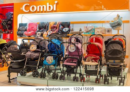 BANGKOK, THAILAND - JANUARY 7, 2016 : Section of baby carriages Combi in supermarket Siam Paragon. Siam Paragon is a one of the biggest shopping centres in Asia.