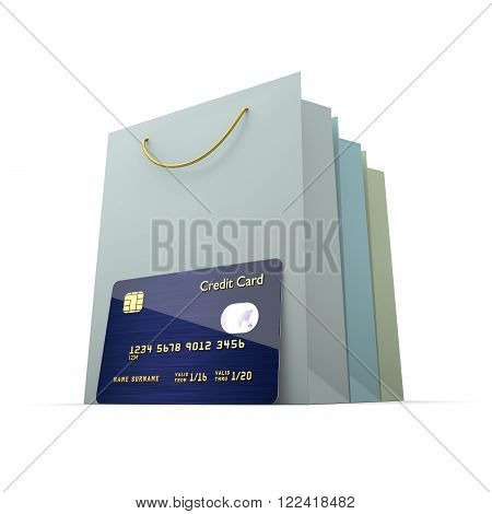 credit card with shopping bag isolated on white background