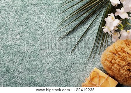 SPA composition on blue towel