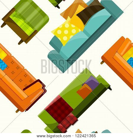 Vector illustration of sofa in flat seamless pattern