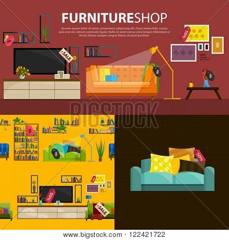 Vector illustration of sale products in a furniture store
