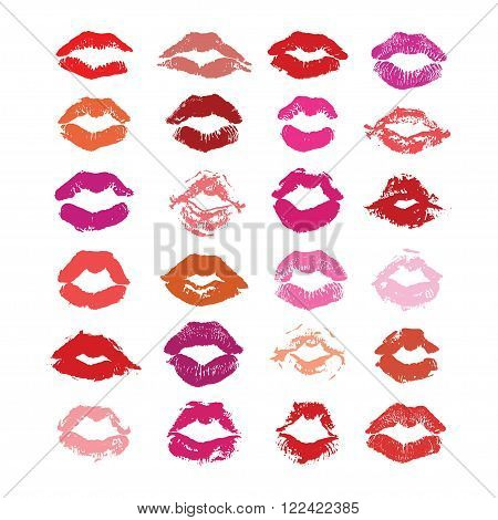 Lipstick kiss isolated on white lips set design element. Print of lips. Vector illustration. Marsala red pink beige fuchsia and purple lips imprints