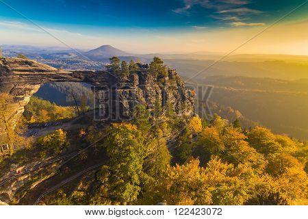 Pravcicka Gate in autumn colors Bohemian Saxon Switzerland Czech Republic