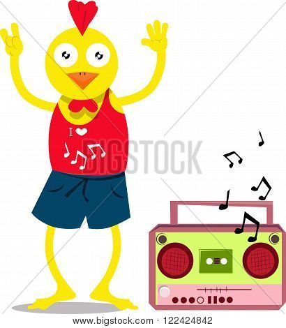 Vector illustrated cute Chicken dancing with cassette player.