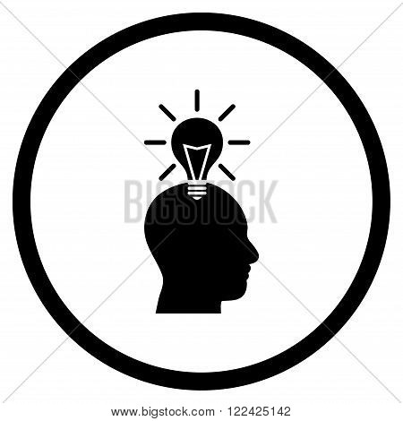 Genius Bulb vector icon. Picture style is flat genius bulb rounded icon drawn with black color on a white background.