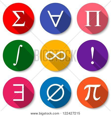 Mathematical Symbols. Set of colorful flat math icons with long shadows. Summation universal quantification product integral infinity factorial existential quantification empty set pi sign.