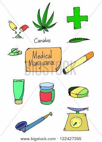 Medical marijuana icons. Medical marijuana icons art. Medical marijuana set. Medical marijuana set art