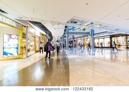 HONG KONG - MAY 26, 2015: interior of shopping mall in Hong Kong. Hong Kong shopping malls are some of the biggest and most impressive in the world
