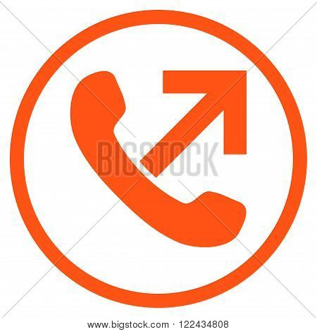 Outgoing Call vector icon. Picture style is flat outgoing call rounded icon drawn with orange color on a white background.