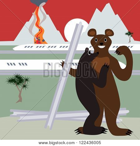 Ursa admires confident bear who steals the rails. The background is an active volcano and a high-speed train, and pine, sun over the mountains.