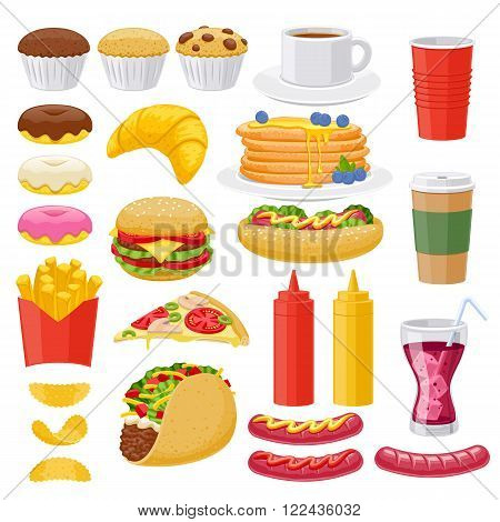 Beautiful  fast food icons set. Cheeseburger pizza tea coffee cola chips pancakes donuts french fries hot dog taco muffin mustard ketchup vector illustration.