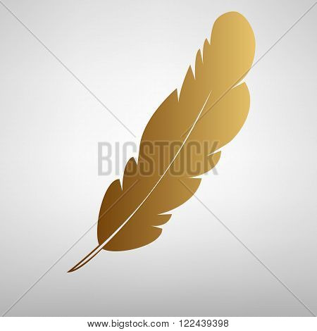 Feather sign. Flat style icon with golden gradient