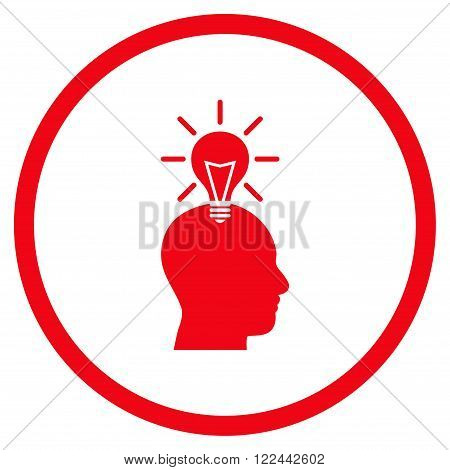 Genius Bulb vector icon. Picture style is flat genius bulb rounded icon drawn with red color on a white background.