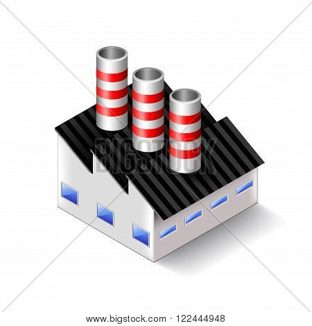 Factory isometric icon isolated on white photo-realistic vector illustration