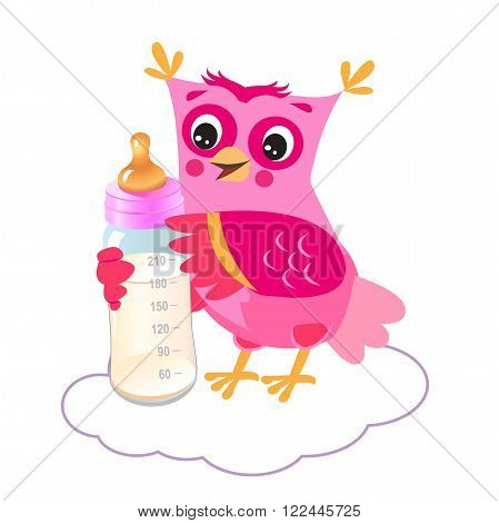 Cute Owlet With Milk Bottle. Welcome Baby Girl. Vector Illustration. Cute Owl Drawings. Cute Owlet Owl Sticker. Cute Owl Picture.