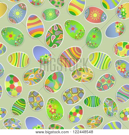Seamless Multicolored Pattern Of Paper Easter Eggs