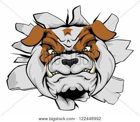 Bulldog Head Crashing Through Wall