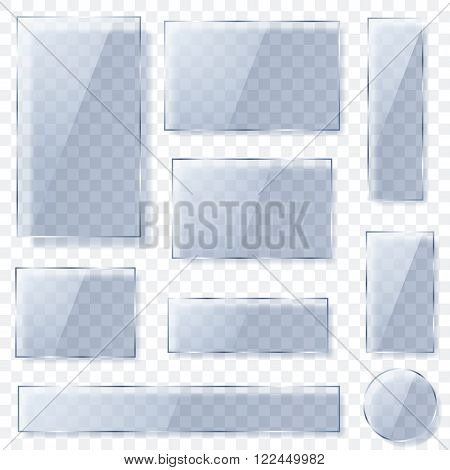 Transparent Glass Plates In Light Blue Colors. Transparency Only In Vector Format