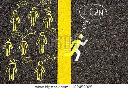 Road marking yellow paint dividing line between I Can't and I Can attitude male symbol running New Mindset concept poster