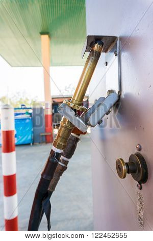 Liquefied petroleum gas LPG station close up