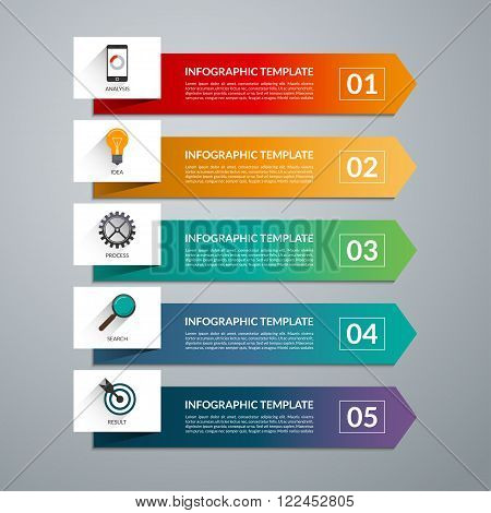 Arrow design elements for business infographics. Vector template with 5 steps, parts, options, stages.  Minimal colorful numbered banners for diagram, graph, report, presentation, chart, web design.