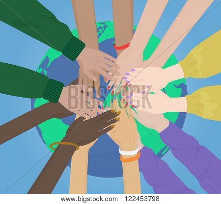 Group of multiracial human hands Together Joining on the Earth concept. Team and union