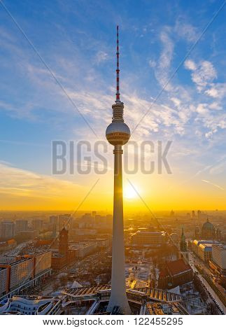 Lovely sunset at the Television Tower in Berlin, Germany