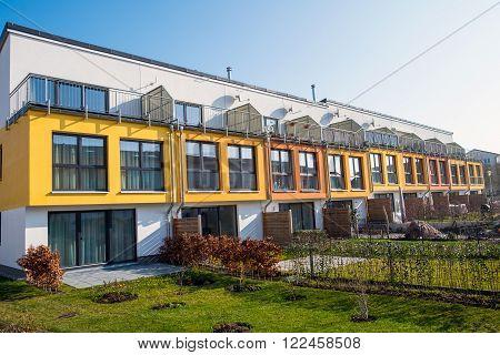 Modern terraced housing seen in Berlin, Germany