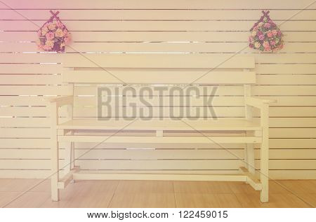 Wooden Chair with flowers vasevintage style color.