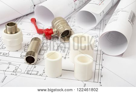 Architecture plan with turn-screw and mixer tap, closeup view. Building concept