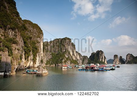 Ha Long Bay Vietnam - 02 April 2013: Floating Fishing Village Ha Long Bay