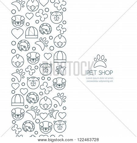 Vector seamless vertical background with outline icons of cat bird snake and dog. Banner or flyer design template with copyspace. Trendy concept for pet shop pets care and grooming veterinary.