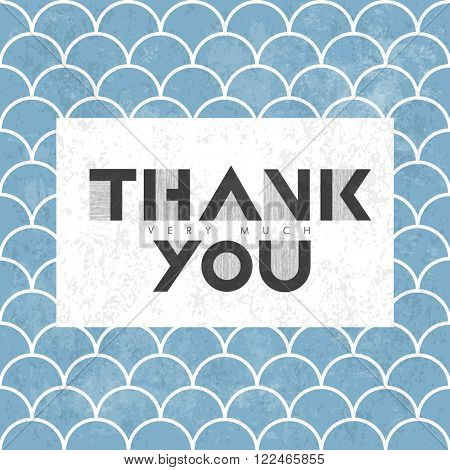 Thank you very much lettering on blue asian fish scale pattern. Raster version.