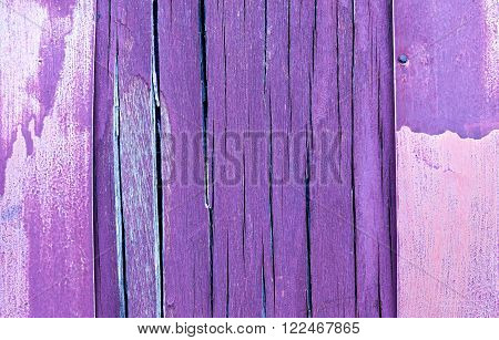 The frame and copy space. purple and violet wooden rustic background or painted wood boards texture. Cracks and crevices on the surface of the plywood.