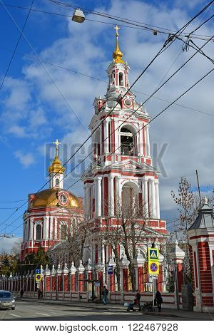 Moscow, Russia - March 14, 2016. Temple of the Great Martyr Nikita on a Staraya Basmannaya Street, Moscow, Russia
