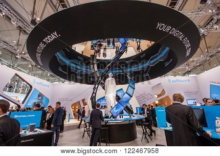 HANNOVER GERMANY - MARCH 14 2016: Booth of Software AG company at CeBIT information technology trade show in Hannover Germany on March 14 2016.