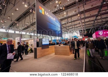 HANNOVER, GERMANY - MARCH 14, 2016: Booth of Microsoft company at CeBIT information technology trade show in Hannover, Germany on March 14, 2016.