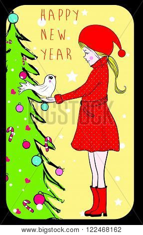 Illustration of a Girl Dressed in a Santa Claus Costume Leaping Playfully