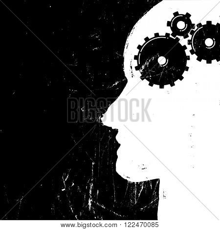 Gear in head piktogramm. Solution or imagination or engineering concept. Grunge styled. . Raster version