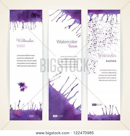 Set of hand painted watercolor vertical banners. Colorful abstract, blue and violet brush stocks and splashes on a white backgrounds. Modern style graphic design template. Marketing concept.