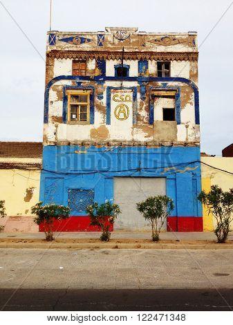 Valencia, Spain - June 3, 2012: Colorful house in Valencia near beach promenade, no people.