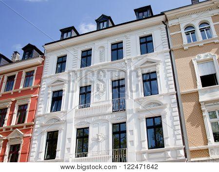 Facade of Art Nouveau building, old buildings