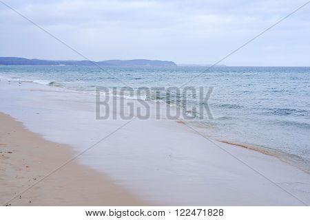 Baltic Sea beach water sky horizon seaside blue sand poster