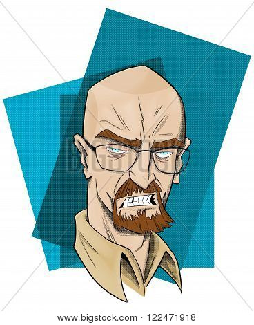 Comic caricature of the famous actor and film director Bryan Cranston. It is known primarily for playing the role of Walter White star of the award-winning television series Breaking Bad and the comedy series Malcolm. color design.