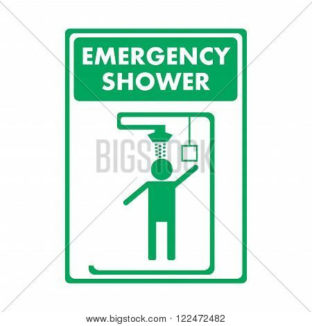 Green emergency exit sign on white, Emergency shower, First aid box, First aid station, Personal eyewash, Keep area clear, Smoking area. poster