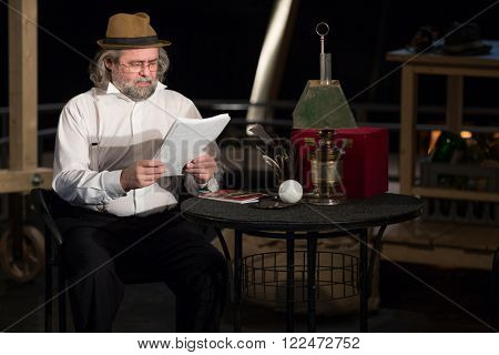RUSSIA, MOSCOW - 15 APR, 2015: Actor is playing his character for performance (Kosmos) at drama theatre Modern.