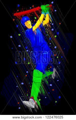 easy to edit vector illustration of Cricket batsman