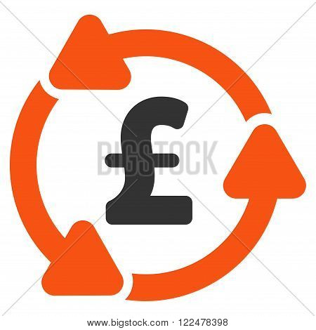 Pound Circulation vector icon. Pound Circulation icon symbol. Pound Circulation icon image. Pound Circulation icon picture. Pound Circulation pictogram. Flat pound circulation icon.