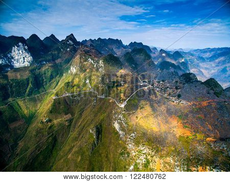 Amazing Ma Pi Leng mountain pass in Dong Van karst plateau global geological park, Hagiang, Vietnam from drone